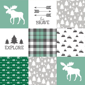 Woodland//Have Courage - Wholecloth Cheater Quilt - Emerald Green
