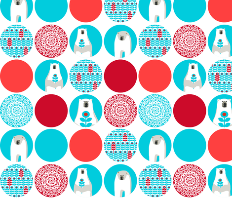 Brr Bear Dots Large Blue Red fabric by lauriewisbrun on Spoonflower - custom fabric