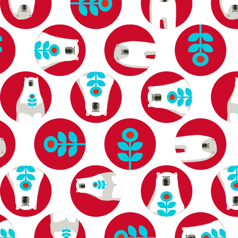 Brr Bear Dots Small Blue Red fabric by lauriewisbrun on Spoonflower - custom fabric