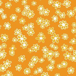 70s Flowers - Orange - Mini Daisy Coordinate-02