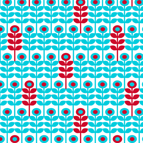 Brr Flowers Blue Red fabric by lauriewisbrun on Spoonflower - custom fabric