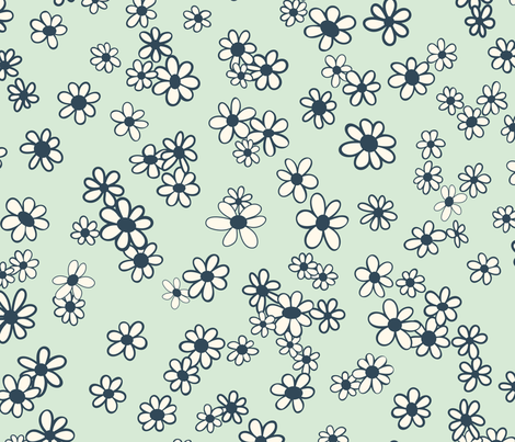 70s Flowers - Mint - Mini Daisy Coordinate-02 fabric by paula_ohreen_designs on Spoonflower - custom fabric