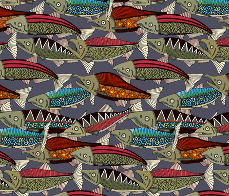 Alaskan salmon dusk fabric by scrummy on Spoonflower - custom fabric