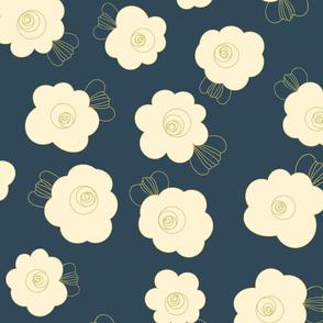 70s Flowers - Mint - Fluffy Flowers Coordinate-02