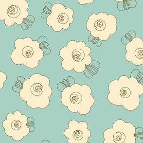 70s Flowers - Orange - Fluffy Flowers Coordinate-02