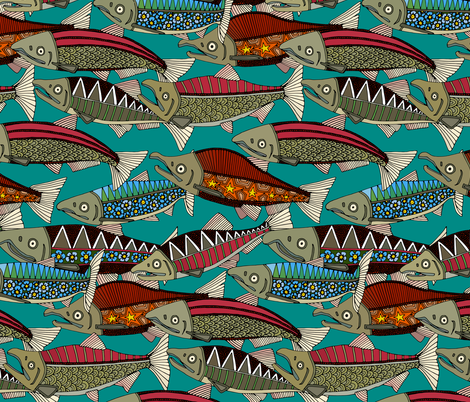 Alaskan salmon teal fabric by scrummy on Spoonflower - custom fabric