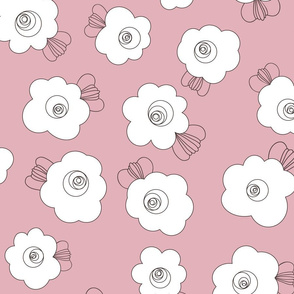 70s Flowers - Pink - Fluffy Flowers Coordinate-02