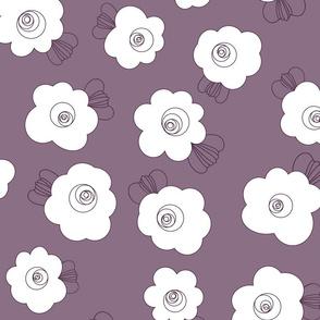 70s Flowers - Purple - Fluffy Flowers Coordinate-02