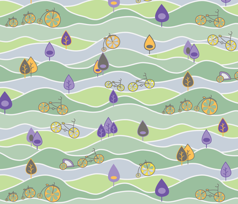 A cycle through the countryside fabric by groundnut_apiary on Spoonflower - custom fabric
