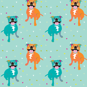 Happy Staffy fabric by Mount Vic and Me (small print)