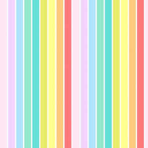 Colorful Pastel Rainbow Stripes - Large