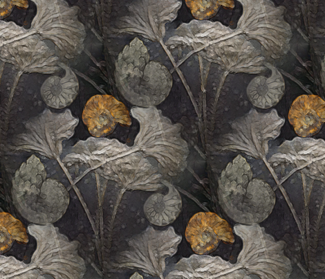 fossil waterlilies fabric by dessineo on Spoonflower - custom fabric