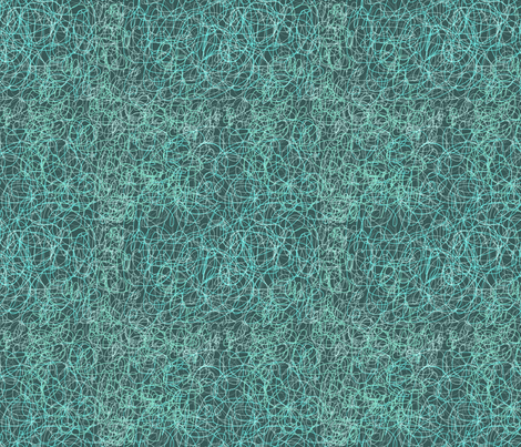Turquoise Kritzel, by Susanne Mason fabric by susanne_mason_ on Spoonflower - custom fabric