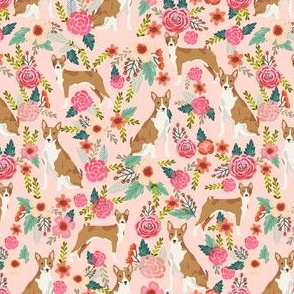 basenji florals (smaller scale) pure breed dog fabric  pink
