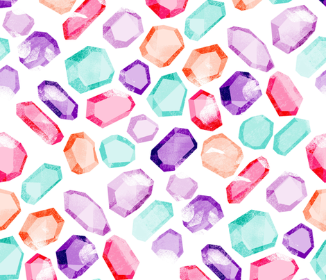 crystals  - purple, pink, aqua, peach - large fabric by charlottewinter on Spoonflower - custom fabric