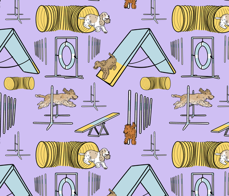 Simple English Cocker Spaniel agility dogs - purple fabric by rusticcorgi on Spoonflower - custom fabric
