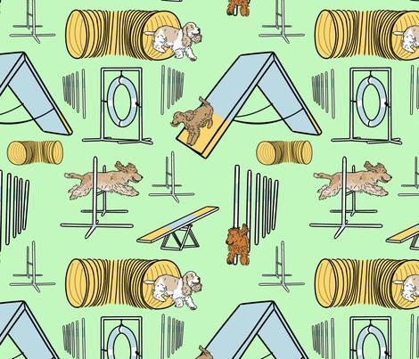 Simple English Cocker Spaniel agility dogs - green fabric by rusticcorgi on Spoonflower - custom fabric