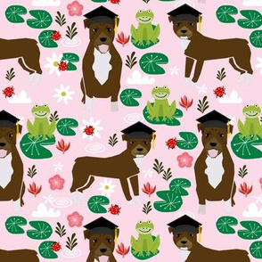 pitbull graduationdog breed frogs fabric