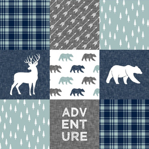 Happy Camper / Adventure - bear and buck - navy and dusty blue
