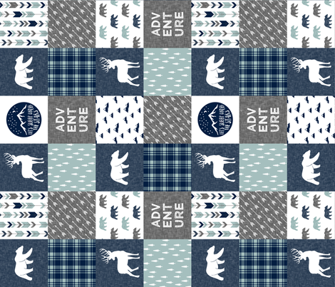Happy Camper / Adventure - bear and buck - navy and dusty blue  (90) fabric by littlearrowdesign on Spoonflower - custom fabric