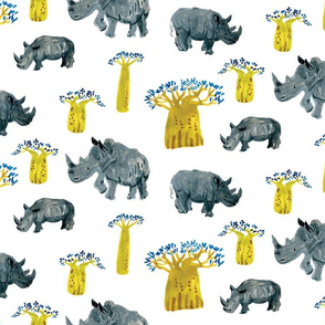 Rhino and Baobab trees