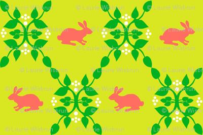 Modern Whimsy Bunnies Citron Rose