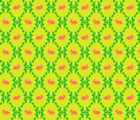 Modern Whimsy Bunnies Citron Rose fabric by lauriewisbrun on Spoonflower - custom fabric