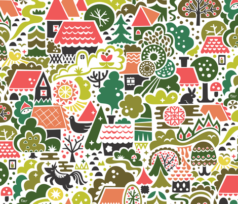 Gingerbread Woods  fabric by studio_amelie on Spoonflower - custom fabric