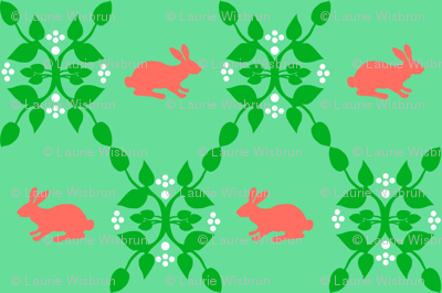 Modern Whimsy Bunnies Mint Rose