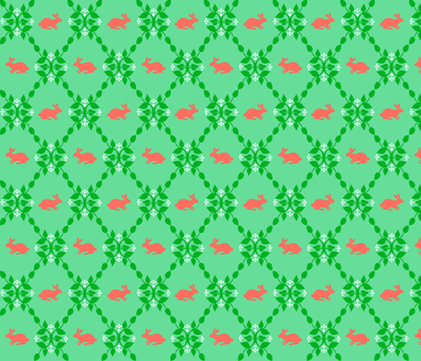 Modern Whimsy Bunnies Mint Rose fabric by lauriewisbrun on Spoonflower - custom fabric