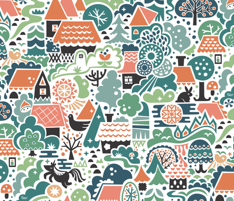 Gingerbread Woods Pastel fabric by studio_amelie on Spoonflower - custom fabric