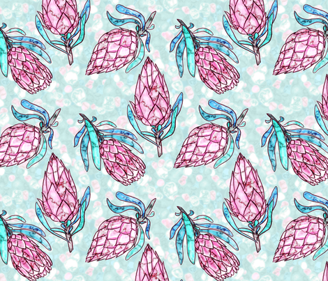 Protea Meteorite (mint) fabric by helenpdesigns on Spoonflower - custom fabric