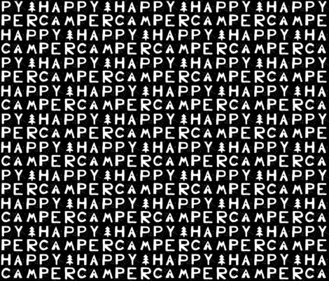 Happy Camper - Black & White fabric by kelly_korver on Spoonflower - custom fabric