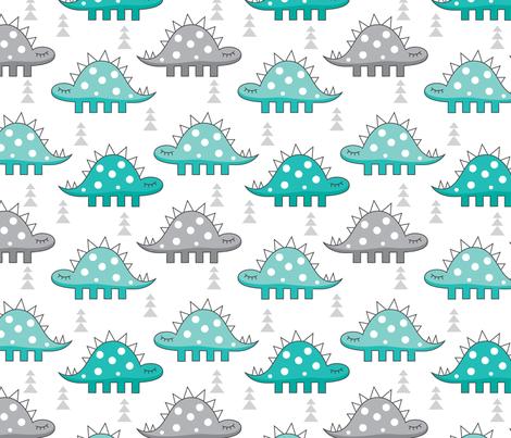 teal stegosaurus dino fabric by lilcubby on Spoonflower - custom fabric