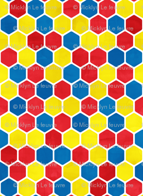 Hexagon Pattern in Textured Bright Colors