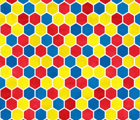 Hexagon Pattern in Textured Bright Colors fabric by micklyn on Spoonflower - custom fabric