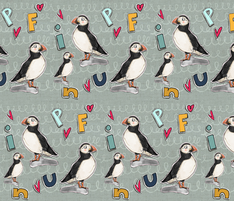 Puffin patches fabric by tiffanyagam on Spoonflower - custom fabric