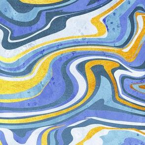 Rainbow gemstone slice // gold and blue