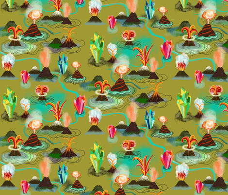Volcanos and crystals fabric by miraparadies on Spoonflower - custom fabric