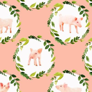 Watercolor Piglets with wreaths
