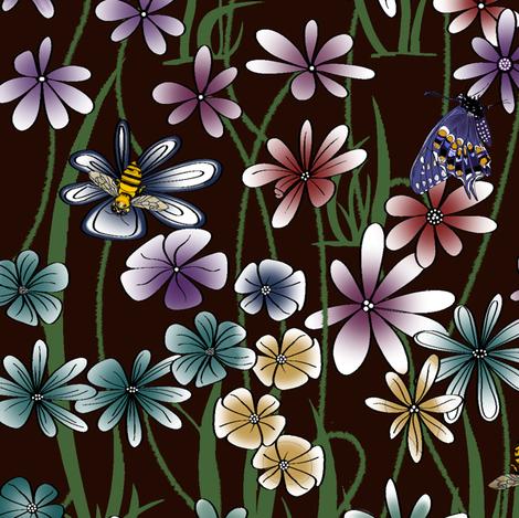 My Flower Garden on dk burgandy fabric by house_of_heasman on Spoonflower - custom fabric