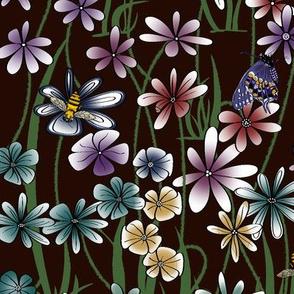 My Flower Garden on dk burgandy