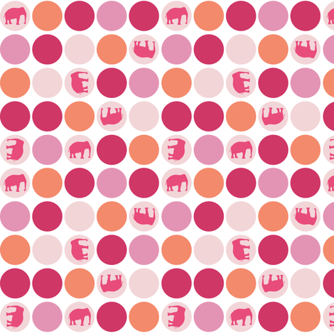 Urban Circus Elephants Dots Pink fabric by lauriewisbrun on Spoonflower - custom fabric