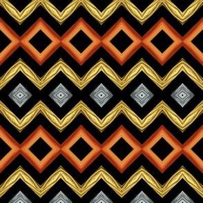 Precious Metals Diamond Stripes on Black - medium-ed