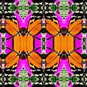 Orange butterfly damask A