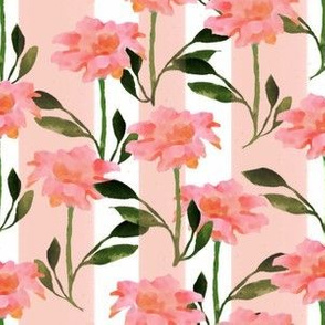 Pinky Peach Flower Pattern with Delicate Stripes