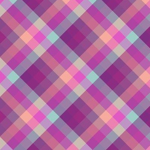 small diagonal pink plaid in sunset