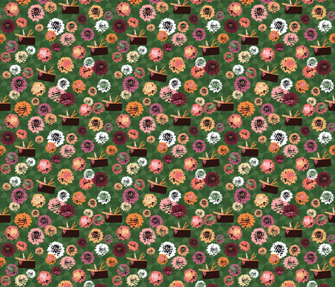 dahlia garden picnic green fabric by colorofmagic on Spoonflower - custom fabric