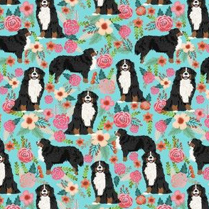 bernese mountain dog florals (smaller scale) dog fabric dog breed fabric cute dogs best bernese moutain dog design