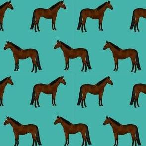 horse bay coat color horses fabric bright teal